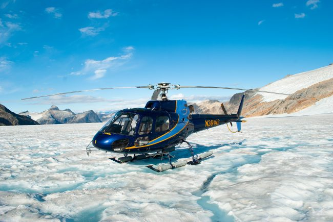 Helicopter ride up to the Taku Glacier in Juneau, Alaska is a great adventure