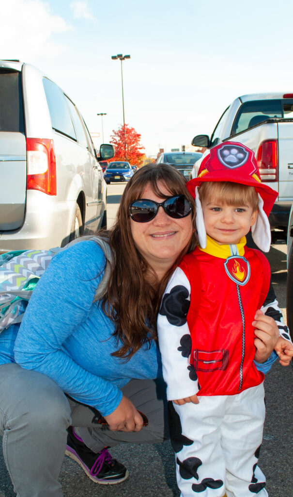 Outside of Target getting ready to trick or treat