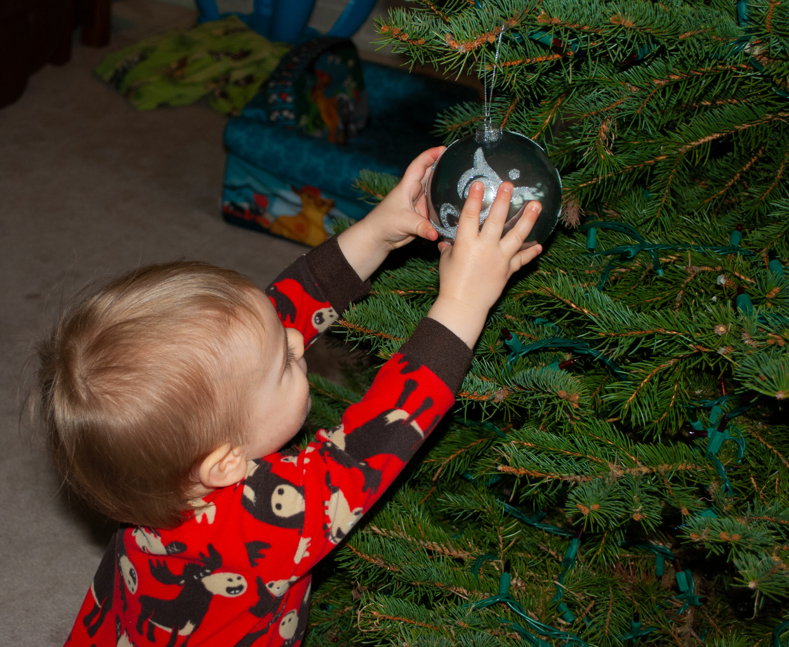Putting an Ornament on a Christmas Tree