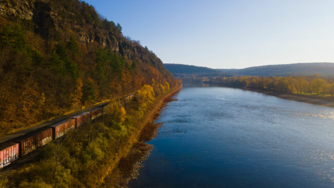 Susquehanna River shot by drone