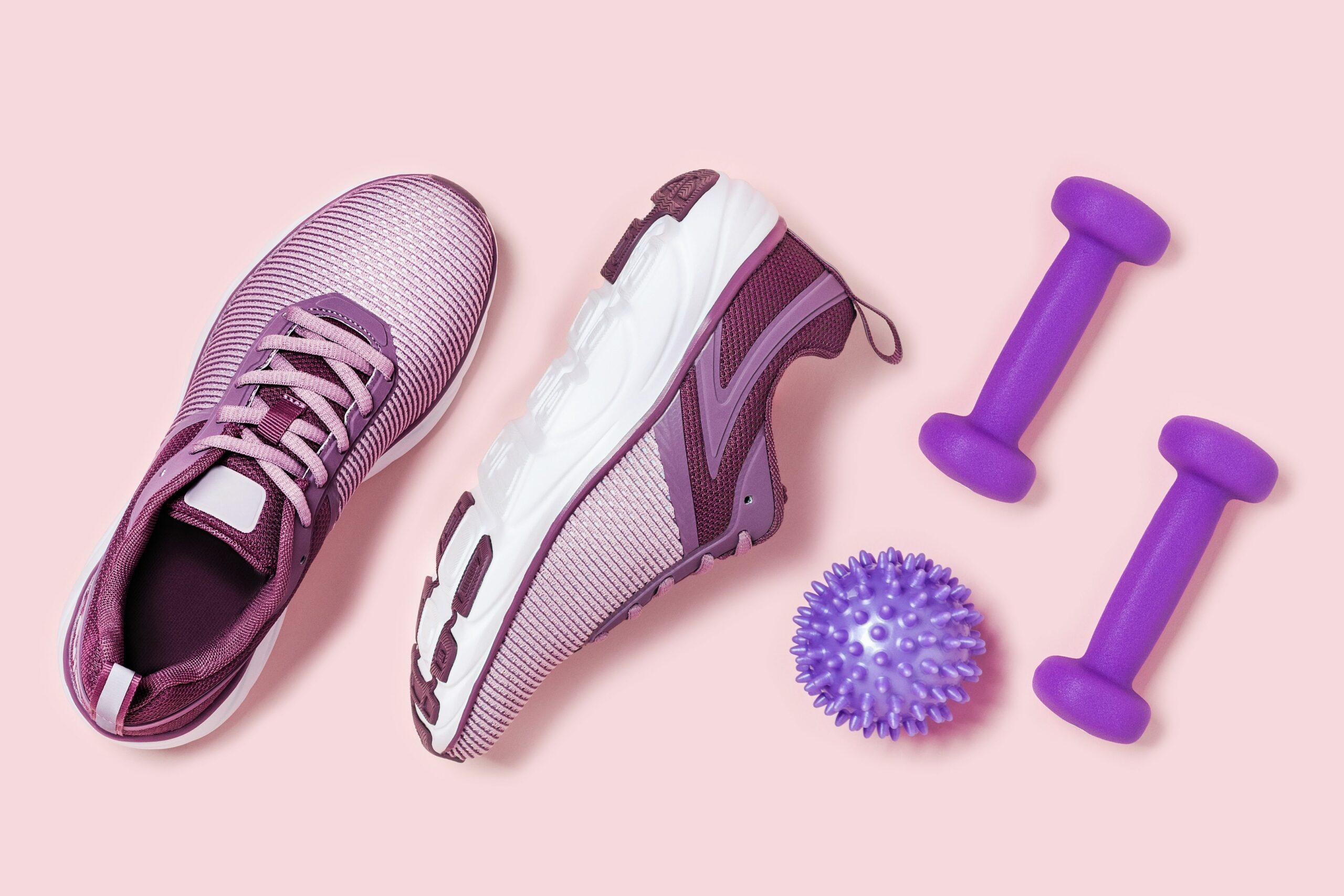 Running shoes and weights to exercise