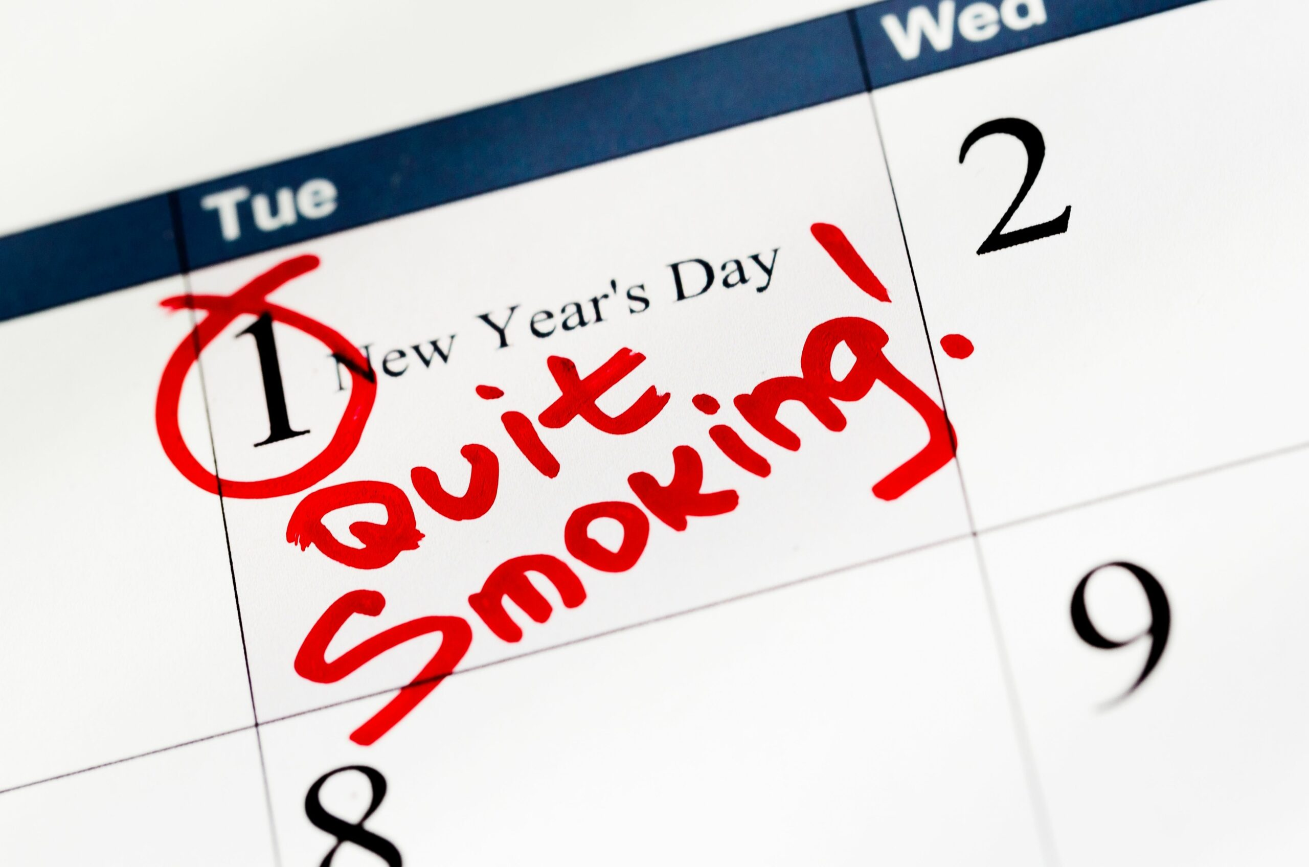 Quit Smoking New Year's Resolution Marked on Calendar