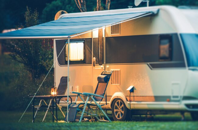 RV set-up for camping