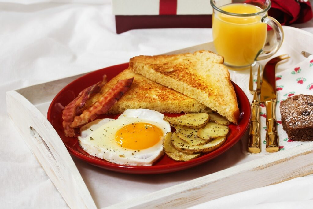 Breakfast on a tray for breakfast in bed for a Valentine's Day date idea