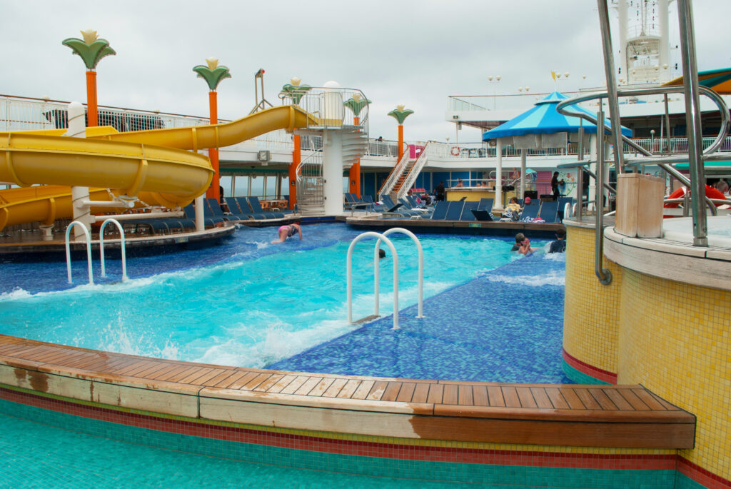 Pool and Water Slides on the Cruise Ship