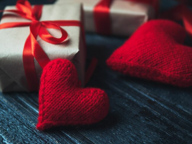 Hearts and gift boxes for Valentine's Day