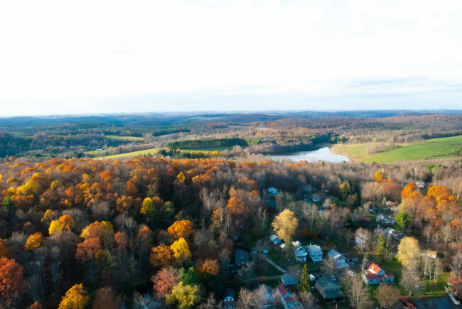 Fall foliage picture from hot air balloon in Pennsylvaania