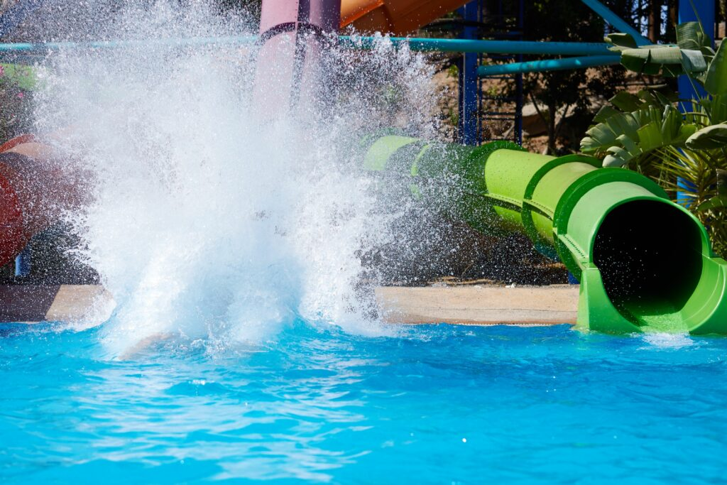Sliding down a waterslide at a waterpark