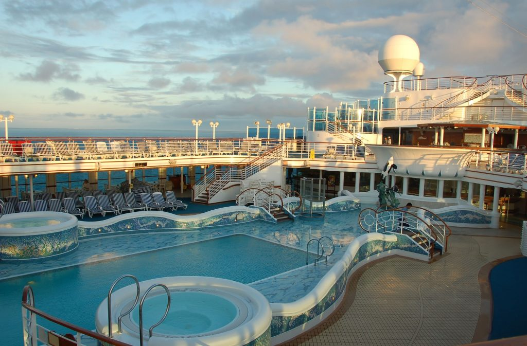 Pool on top deck of cruise ship